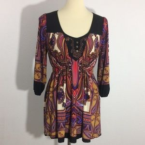 Live and Let Live Paisley Multicolored Tunic Dress